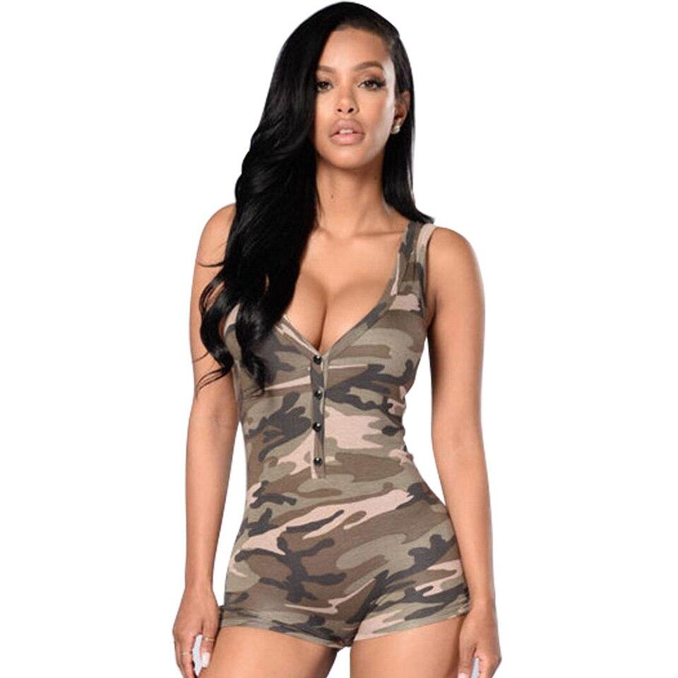 SOVOEVA Women Playsuit Camouflage V Neck Sexy Playsuit Romper For Women Body Cloth Camo Sleeveless Skinny Bodysuit 2017 Summer