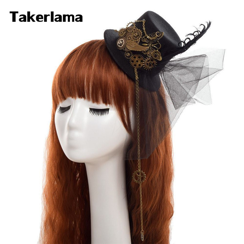 Takerlama Steampunk Women Gear Wings Clock Mini Hat Lace Hair Clip Punk Gothic Headwear Lolita