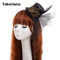 Takerlama Steampunk Women Gear Wings Clock Mini Hat Lace Hair Clip Punk Gothic Headwear Lolita