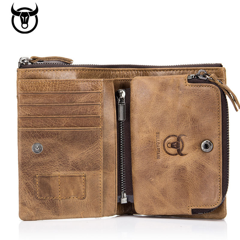 New Genuine Cowhide Leather Men Wallet Short Coin Purse Small Vintage Wallet Brand High Quality Designer New Short Wallet