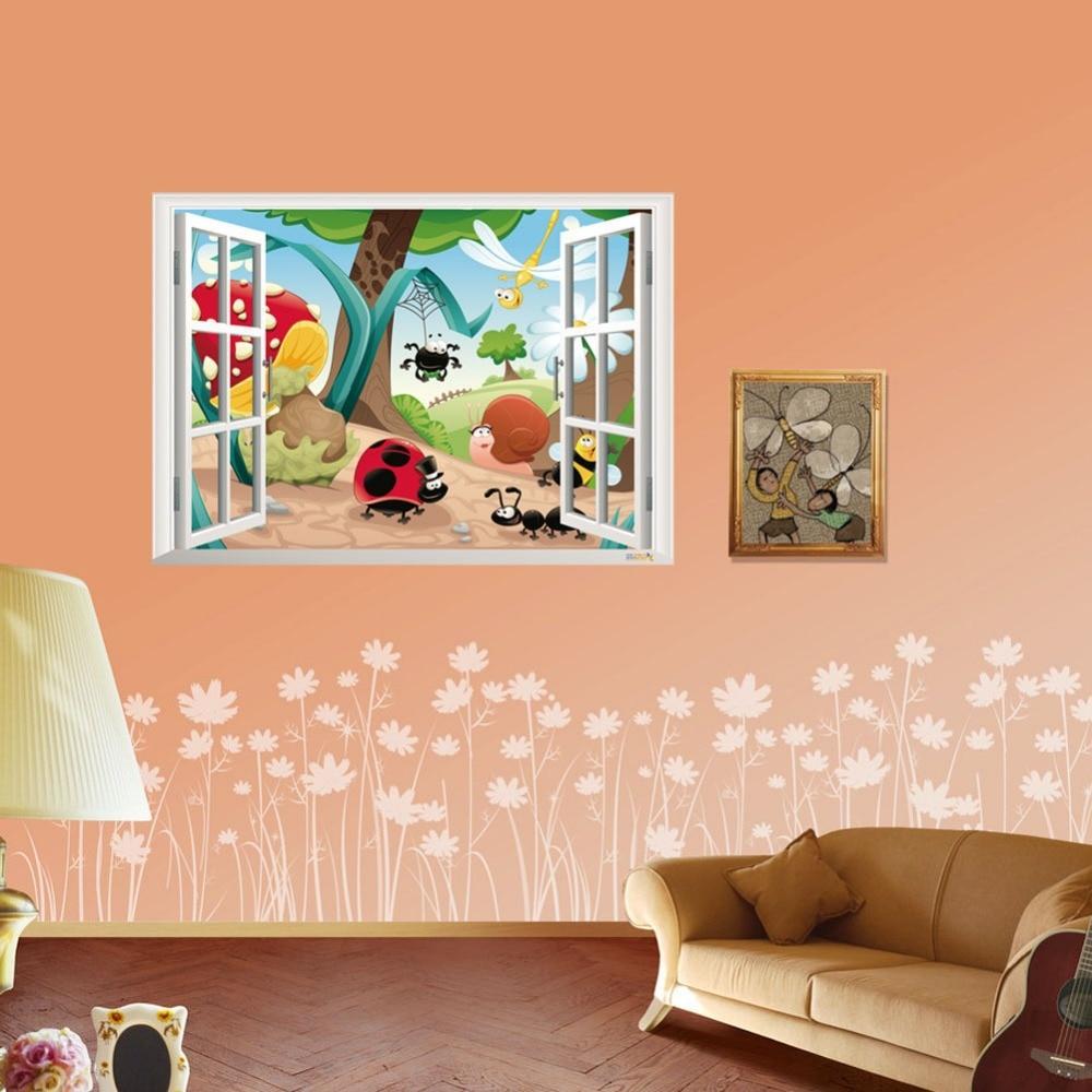 de pared para nios etiquetas de la pared decoracin de la habitacin ventana falsa y de la mariquita insectos familia vinilos decorativos infantiles with