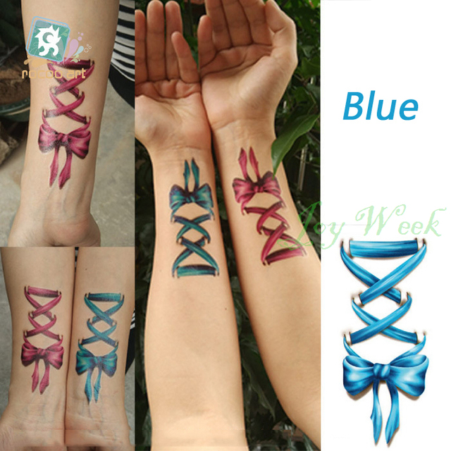 6bda78cda Waterproof Temporary Tattoo Sticker 3D blue bow-knot tatto stickers flash  tatoo fake tattoos for