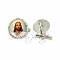 Sacred Heart of Jesus Cuff Button Women Men Cufflinks Silver Plated Cuff-Link Jesus Art Photo Glass Charms Jewelry