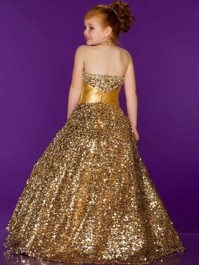 Stunning Beautiful Girls Pageant Dresses With Sequins Gold Kids ...