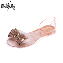 cbbee4d3b32dff PVC Summer Jelly Shoes Transparent Sandals Bling Crystal Bowknot Womens  Peep Toe Comfortable Bowtie Casual Flats. 2 Colors Available