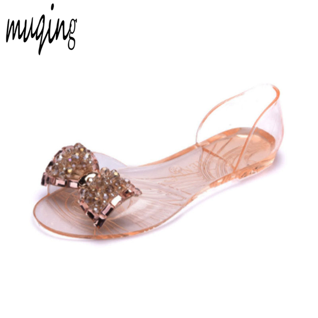 483192d697671 PVC Summer Jelly Shoes Transparent Sandals Bling Crystal Bowknot Womens  Peep Toe Comfortable Bowtie Casual Flats Shoes 7N0255