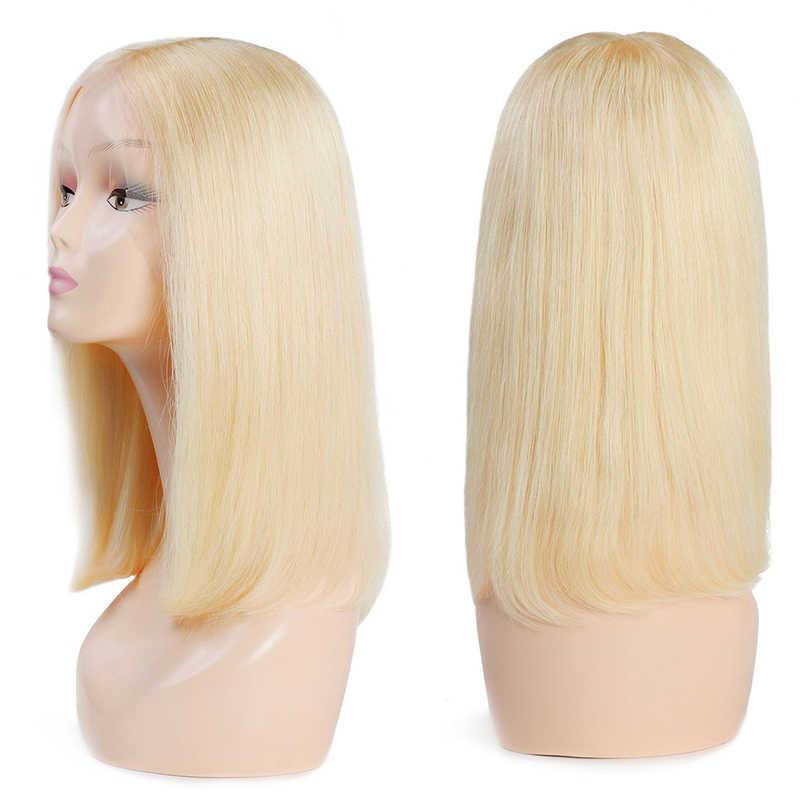 Боб парик их натуральных волос Короткие парики для женщин бразильский Реми средняя часть 613 Блонд натуральный цвет черный Леди Полный Толстый кукольный лицо