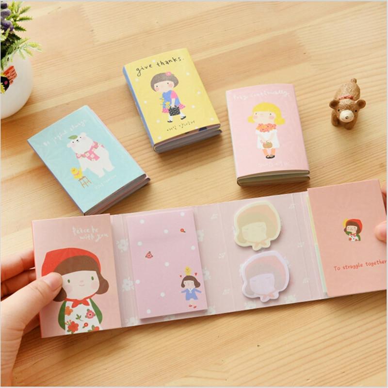 4 pcs/Lot Cute girl & bear sticky notes Folding memo pad Poss