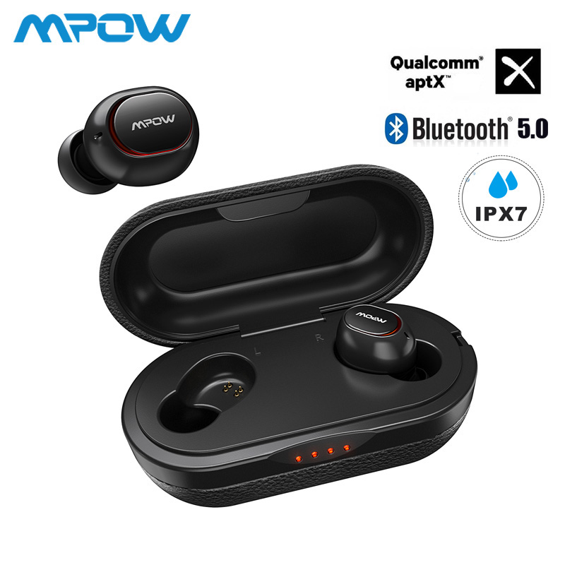 Mpow ipx7 Waterproof T5/M5 Upgraded TWS Earphones Wireless Earbud Bluetooth 5.0 Support Aptx 36h Playing Time For iPhone Samsung-in Bluetooth Earphones & Headphones from Consumer Electronics