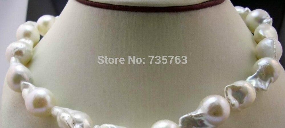 Xiuli 0015133 Grande formato irregolare Barocco Nucleare perla 12-20mm collana 925 s catenaccio dei moniliXiuli 0015133 Grande formato irregolare Barocco Nucleare perla 12-20mm collana 925 s catenaccio dei monili