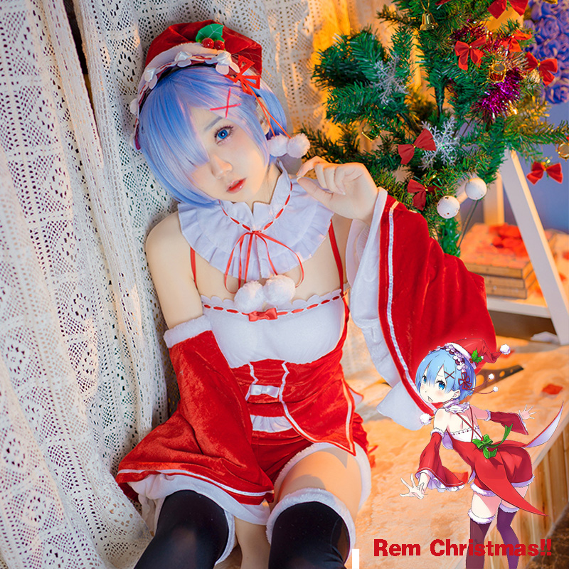 Anime Re: Life a Different World from Zero Rem Christmas Lolita Dress Cosplay Costume Full set 2017 New free shipping