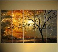 Pinturas al óleo del grupo, árbol abstracto, cuadro de la pared, reproducción, ilustraciones