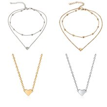 Tiny Heart Choker Necklace for Women gold Silver Chain Smalll Love Necklace Pendant on neck Chocker Necklace Jewelry drop ship(China)