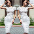 Hot Vestido De Festa White Short Cocktail Dresses Scoop Short Sleeve Lace Knee Length Homecoming Celebity Party Gowns 2016 CD31