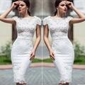 Hot Vestido De Festa White Short Cocktail Dresses Scoop Short Sleeve Lace Knee Length Homecoming Celebity Party Gowns 2016 CD31