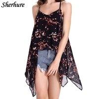 2018 Summer Women Camis Fashion Print Chiffon T Shirts Women Sleeveless Sexy Backless Vests Female Beach