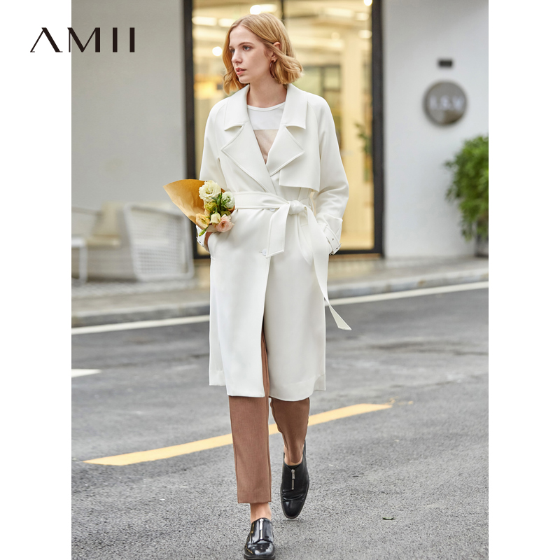 Amii Minimalist   Trench   Coat for Women Spring 2019 Causal Solid Turn Down Collar Belt Loose Long Female Windbreaker Coat