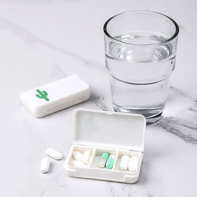 Mini 3 Grid Pill Box Medicine Tablet Storage Dispenser Organiser Container Tool  Portable First Aid Kit Or Candy Box