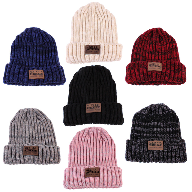 1Pcs Fashion Unisex Winter Warm Hats For Women Wool Knit Crochet Hat Autumn Spring Female Men Beanie Cap Adult Ski Cap Wholesale