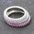 Almei CZ Diamond Women Female Rings Silver Jewelry Pink Anillos Mujer Vintage Wedding Ring 2017 Retro Anel Purple Stone Y115
