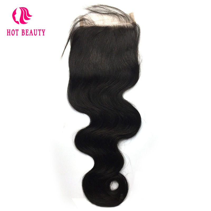 Hot Beauty Hair Pre Plucked Peruvian Body Wave Remy Hair 4 4 Lace Closure Free Part