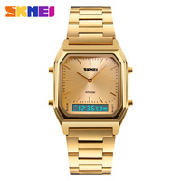 SKMEI Dual Display Watches Fashion Men Watch Gold Full Steel Multiple Time Zone Chronograph Waterproof Man