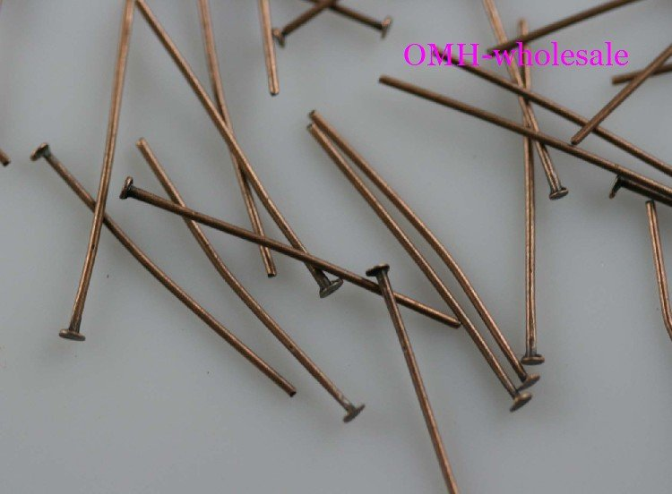 OMH wholesale 550pcs Jewelry accessories production tool 20mm Brooches Antique red Copper color metal Head pins DY66-20mm