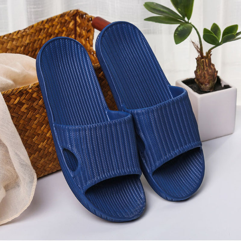 Home Slippers Couple Summer Indoor Non-slip Bathroom Slippers Outdoor Fashion Cushioning Striped Casual Men Women Beach Shoes