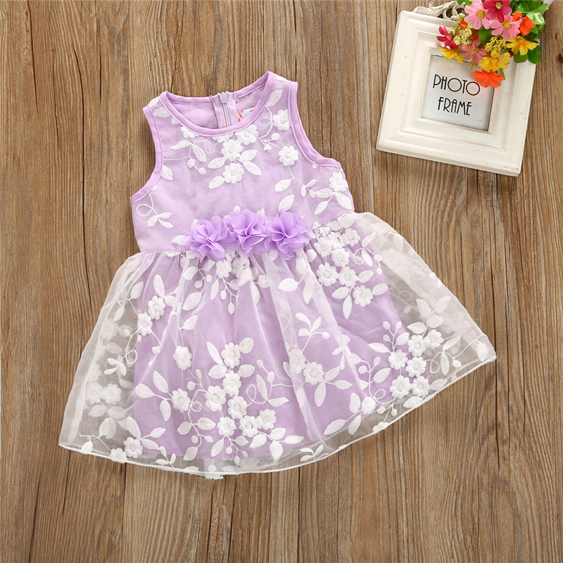 Kids Baby Girls Dress Summer Sleeveless Purple Round Neck Zipper Princess Tulle Lace Flower Party Pageant Formal Dress Clothes