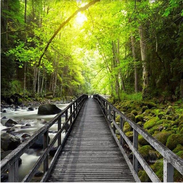 Beibehang 3d Besar Wallpaper Hd Yang Indah Jembatan Kayu Creek Hutan