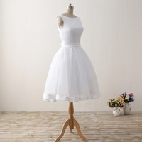 ILoveWedding Cheap Short Beach Wedding Dresses Formal Women Backless Organza Satin Bow Bridal Gowns