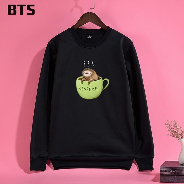 BTS Sloffee Hoodies Mulheres Hipster Brand Fashion Female-sweatshirt  Creative Cute Women Hoodies Sweatshirts Long Sleeve 7dde3adfbc72