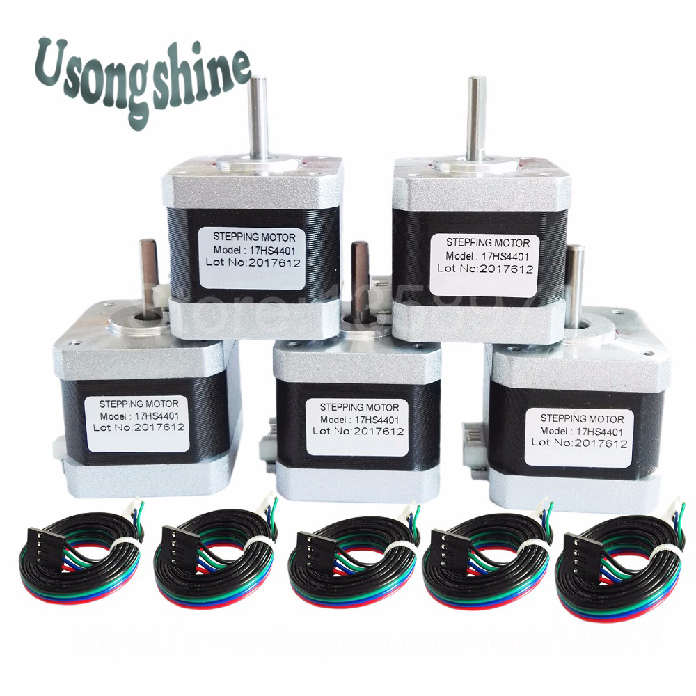 5Pcs/lot 17HS4401 4-lead Nema17 Stepper Motor 42 motor Nema 17 motor 42BYGH 1.5A (17HS4401) motor for 3d printer and CNC XYZ