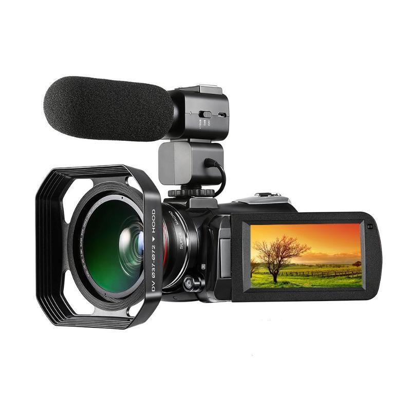 ORDRO Câmera de Vídeo Digital 4 AC3 K UHD 24MP 30X Zoom Wi-fi Câmera de Visão Noturna com 0.39X Lente Grande Angular lente + Gancho + Micophone