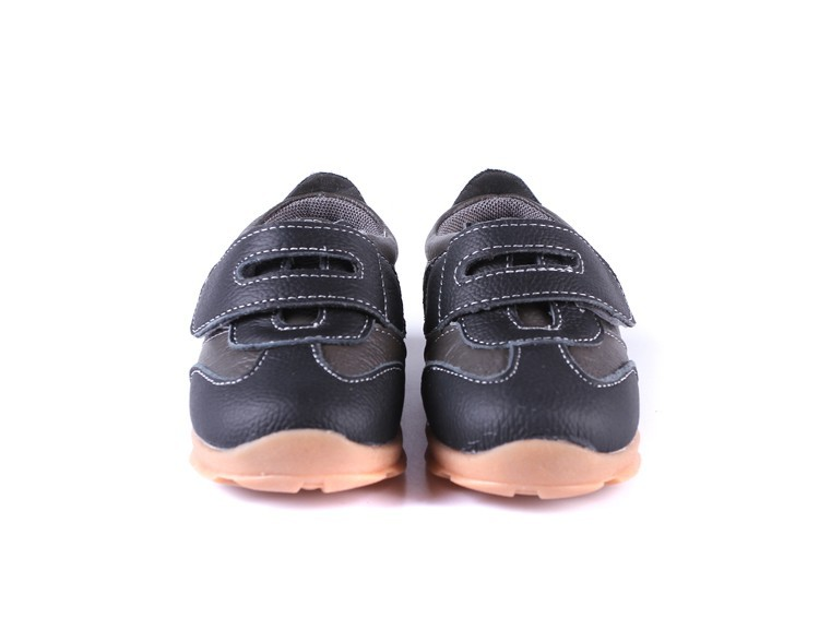 SandQ baby Boys sneakers soccers shoes girls sneakers Children leather shoes pink red black navy genuine leather flexible sole 25