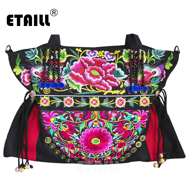ETAILL Yunnan Ethnic Floral Embroidered Ladies Handbags Vintage Canvas Tote Bags for Women 2018 Boho Embroidery Shoulder Bag