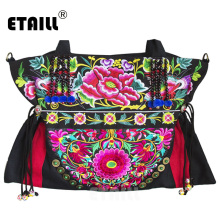 ETAILL Yunnan Ethnic Floral Embroidered Ladies Handbags Vintage Canvas Tote Bags for Women 2018 Boho Embroidery Shoulder Bag naxi hani original brocade embroidered women handbags vintage ethnic handmade tassel sequins canvas shoulder bags