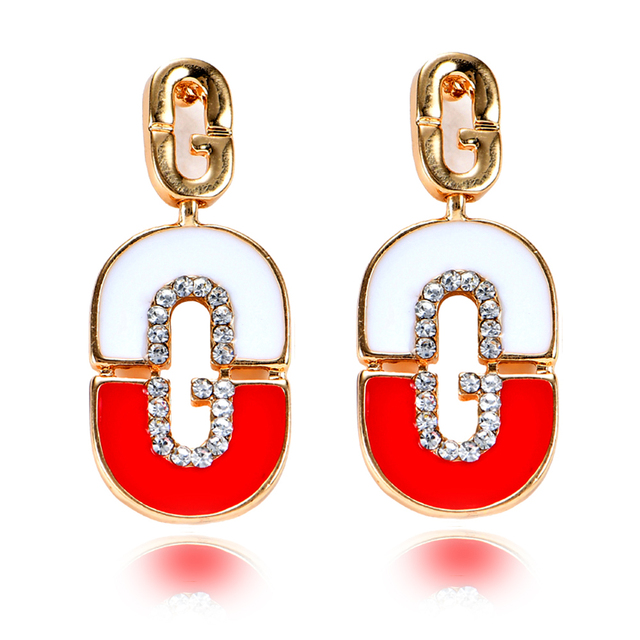 2018 New Crystal Vintage Letter G Red Black Enamel Earring Magnee Gold Color Fashion Earrings For