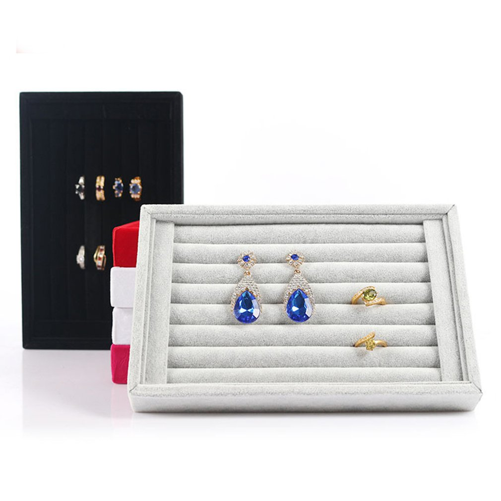 Velvet Finger Ring Display Stand Holder Show Case Jewelry Organizer Display Shelf Ear Studs Rack Stoage Box Holder Tray 2019