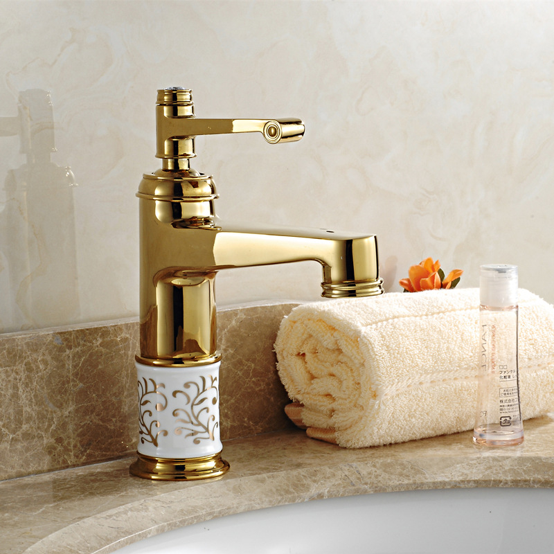 Gold antique bathroom faucet blue and white porcelain gilt - White porcelain bathroom fixtures ...