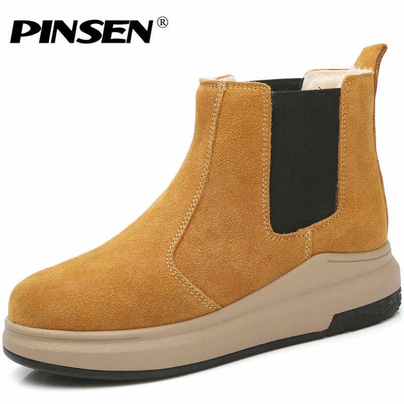 PINSEN Kadın Botları 2019 Kış Motosiklet yarım çizmeler Ayakkabı Kadın Slip-on Kar Botları Kadın Sıcak Süet Deri lastik çizmeler