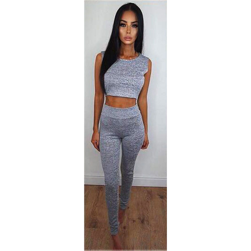 5af96f9c4e7 Two Pieces Sets Women Sexy Sleeveless Bodycon Short Tank Crop TopS High  Waist Skinny Long Pants Casual Solid Trousers Romper