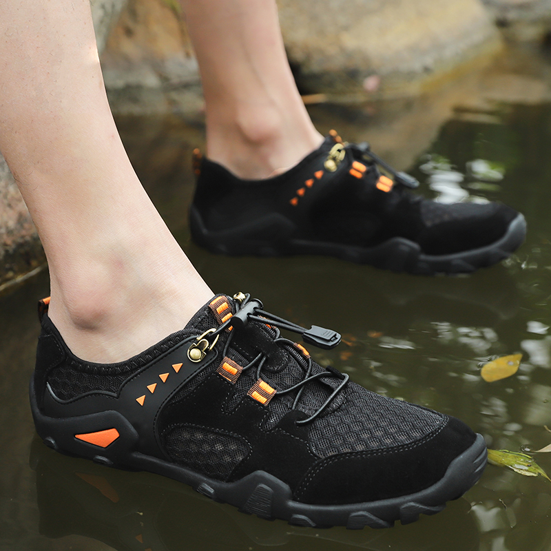Men's Outdoor Hiking Shoes 2019 Summer Air Mesh Breathable Waterproof Lace Up Soft Outdoor Sneakers Man Trekking Trail size38 46