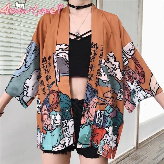 Harajuku Vintage Printed Kimono Cardigan For Women Shirts Japanese Kawaii Graphic Oversized Tops Street Fashion Female Blouse  5