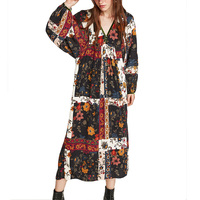 2017 Robe Profonde V-cou Patch Travail Floral Robe Femmes Long manches Maxi Robe Féminine Ethnique Lâche Boho Vintage Robe Robe Mujer