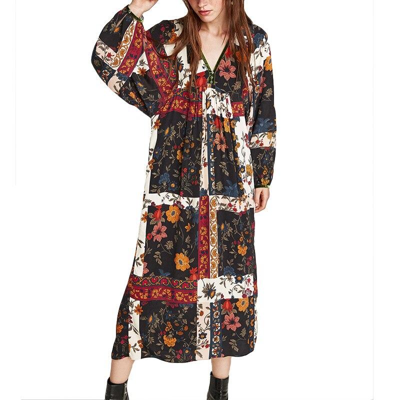 2018 Robe Deep V neck Patch Work Floral Dress Women Long Sleeve Maxi Dress Female Ethnic