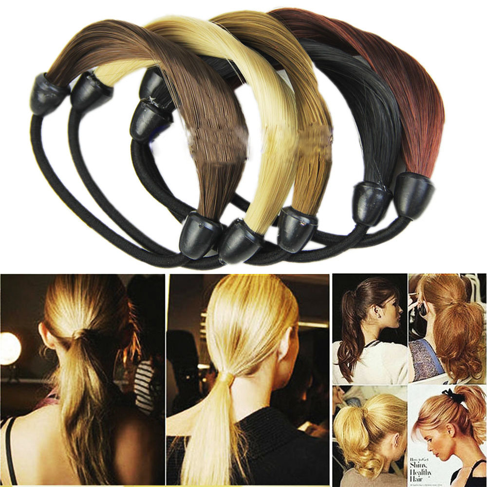 Korean Style Hairpiece Modern Woman Accessories Hairband Girl Synthetic Wig Elastic Hair Rope 1PC   Headwear   Ponytail Holder