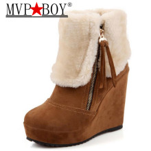 MVP BOY Ladies ankle half short wedge boots women snow fashion winter warm boot footwear shoes EUR size 35-40 black brown yellow цены онлайн