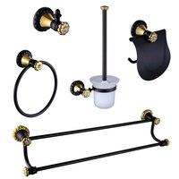 2017 Wholesale Solid Brass Black&Golden Bath Hardware Set Robe Hook Towel Bar Ring Towel Rails Toilet Paper Holder