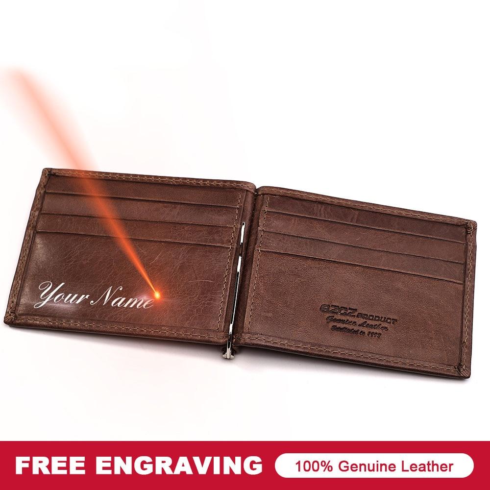 GZCZ font b Men b font Women Genuine Leather Money Clips Bifold Male Purse Billfold Wallet